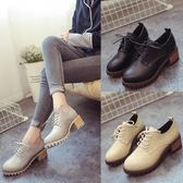 短靴   小皮鞋新款英倫短靴韓版靴子粗跟學院風學生馬丁靴