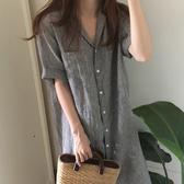 短袖襯衫 bf條紋短袖襯衣女超長款過膝寬鬆大款棉麻襯衫裙 三角衣櫃