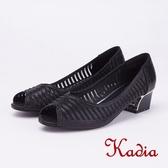 kadia.華麗響宴 水鑽點綴魚口粗跟鞋(9052-95黑色)