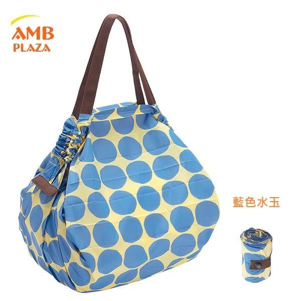 日本 MARNA Shupatto【 藍色水玉M】輕量口袋包環保購物袋/快速摺疊收納