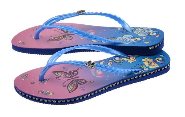 QWQ創意鞋-  蝶之花 施華洛世奇水鑽夾腳人字拖鞋- 藍 (范特西系列 )