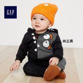 Gap男嬰兒 萬聖節系列怪獸圖案連帽長袖運動衫 374342-純正黑