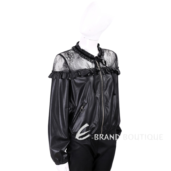 PINKO 蕾絲拼接黑色皮革外套 1810168-01