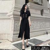 新款長裙魚尾西裝領洋裝女夏長款氣質顯瘦收腰2021流行夏天【全館免運】