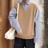 寬鬆毛衣 毛衣男襯衫領秋季新款針織衫假兩件韓版寬鬆學生百搭打底衫 小天後