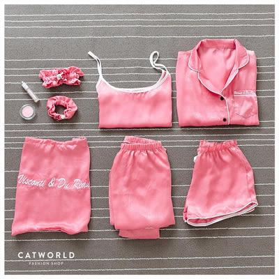 Catworld 慵懶時光。絲綢居家睡衣七件組【16600123】‧F