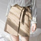 排扣綁帶不規則半身裙夏女高腰a字裙2018新款裙子包臀短裙褲   LannaS