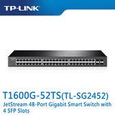 【免運費】TP-LINK  T1600G-52TS ( TL-SG2452 ) JetStream 48 埠 Gigabit 智慧型 交換器(含4個SFP插槽)