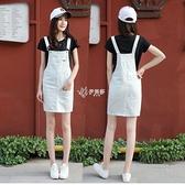 2021白色牛仔背帶裙女夏季短裙韓版大碼學生修身顯瘦連身裙潮