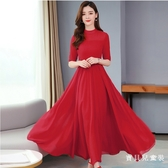 純色雪紡洋裝顯瘦氣質收腰2020春夏季大碼女裝連衣裙減齡遮胯長裙子LXY6853『寶貝兒童裝』