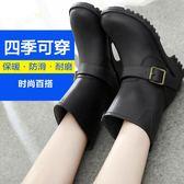 雨鞋女春秋夏季成人雨鞋女士雨靴套鞋防滑水鞋女時尚中筒皮帶扣黑色韓國 99狂歡購物節