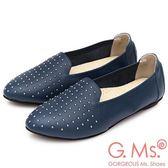G.Ms. MIT系列-金屬鉚釘牛皮懶人鞋-藍色