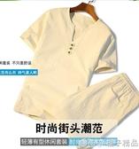 新款男裝中國風短袖套裝男生t恤大碼短褲夏天5五分褲休閒運動衣服      橙子精品