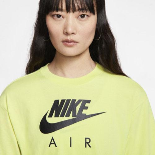 NIKE AIR TOP 女裝 短袖 寬版 純棉 休閒 訓練 慢跑 logo 螢光黃【運動世界】CJ3106-367