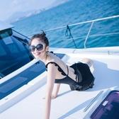 古力娜扎同款泳衣女溫泉度假黑色荷葉邊性感露背顯瘦遮肚游泳衣女