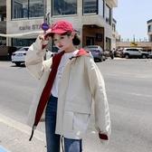 風衣 嘻哈風外套女春秋正韓學生bf原宿寬鬆中大尺碼拼色抽繩港風棒球服風衣