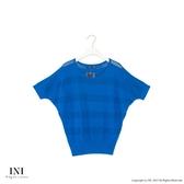 限定回饋【INI】優雅質感、專櫃細膩格紋針織上衣.藍色