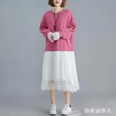 秋冬季假兩件蕾絲拼接韓版寬鬆大碼洋裝胖mm中長款顯瘦洋氣連身裙 XN8538【棉花糖伊人】