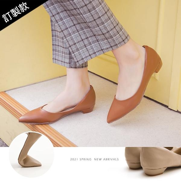 包鞋.防磨腳素面尖頭低跟包鞋(棕)-大尺碼-FM時尚美鞋-訂製款.Best wish