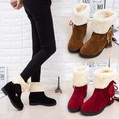 秋冬雪地靴女鞋防滑平底加絨加厚短筒靴保暖兩穿棉鞋女靴 優樂居