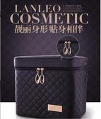 大容量韓國化妝包多功能小號方袋便攜手提多層化妝品收納盒簡約箱