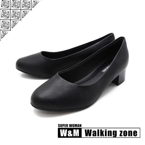 【南紡購物中心】WALKING ZONE SUPERWOMAN系列圓頭素面低跟上班鞋女鞋-黑(另有藍.卡其)