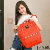 【冰山袋鼠】日本話題熱銷款 防潑水大開口收納 兩用超輕寬口後背包/手提包-磚紅色