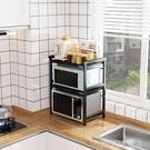可伸縮廚房置物架微波爐架家用烤箱儲物台面雙層放鍋電飯煲收納架 【優樂美】