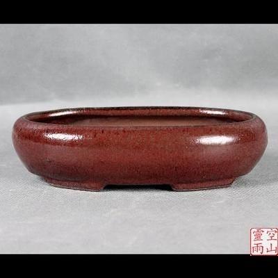 陶瓷花盆/紫砂/紅釉/橢圓形/20公分
