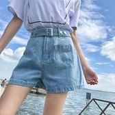 牛仔短褲—夏季新款韓版短褲女配腰帶高腰顯瘦百搭闊腿牛仔褲學生熱褲潮 依夏嚴選