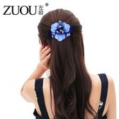 左歐夾子頭飾馬尾彈簧頂夾水鑽髮卡淑女髮飾品韓式蝴蝶結髮夾