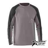 【PolarStar】男 吸排圓領剪接長袖衣『暗灰』P20255 上衣 休閒 戶外 登山 吸濕排汗 透氣 長袖