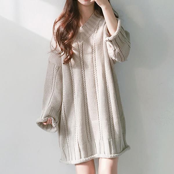 現貨-毛衣-長版慵懶女孩捲邊針織毛衣 Kiwi Shop奇異果0907【SZZ7861】