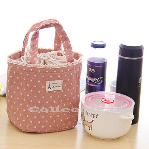 【199免運】日式清新波點棉麻蕾絲束口手提保溫袋 飯盒包 保溫保冰袋 便當袋