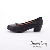 大尺碼女鞋-夢想店-MIT台灣製造職場正氣真皮素面工作鞋高跟鞋4.5cm(41-47)-黑色【JD5601】