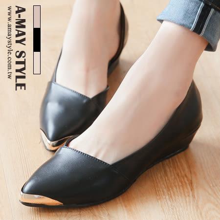 尖頭鞋-MIT時尚金屬尖頭斜口楔型鞋