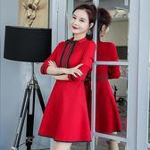 冬季連身裙女加厚長袖氣質秋冬加絨打底冬天赫本小紅裙    蜜拉貝爾