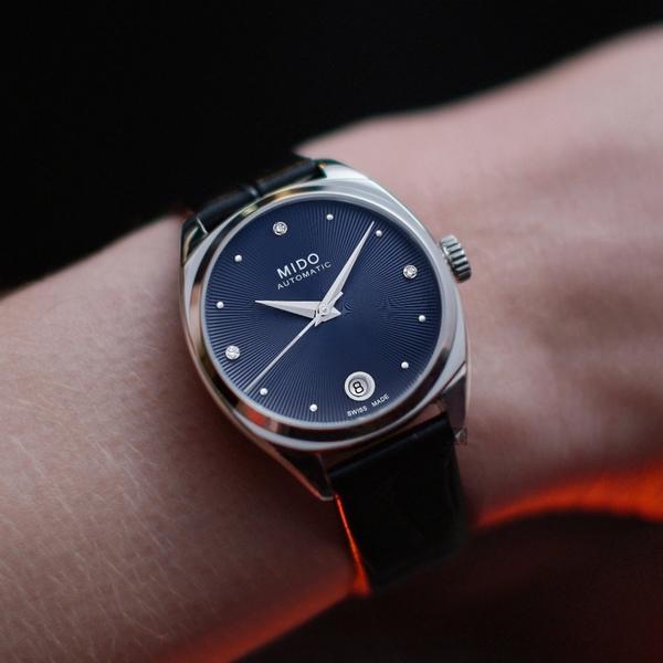 MIDO 美度 Belluna 皇室藍 真鑽機械女錶-33mm(M0243071604600)