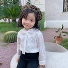 氣質綁帶蝴蝶結蕾絲簍空長袖襯衫 長袖上衣 襯衫 純白襯衫 女童 童裝 兒童 橘魔法 現貨
