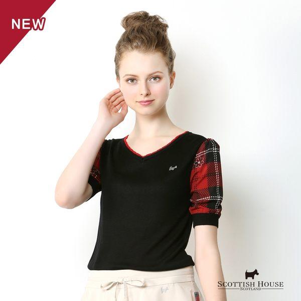 花漾緹花紅黑格拼接袖造型針織上衣 Scottish House【AA1463】