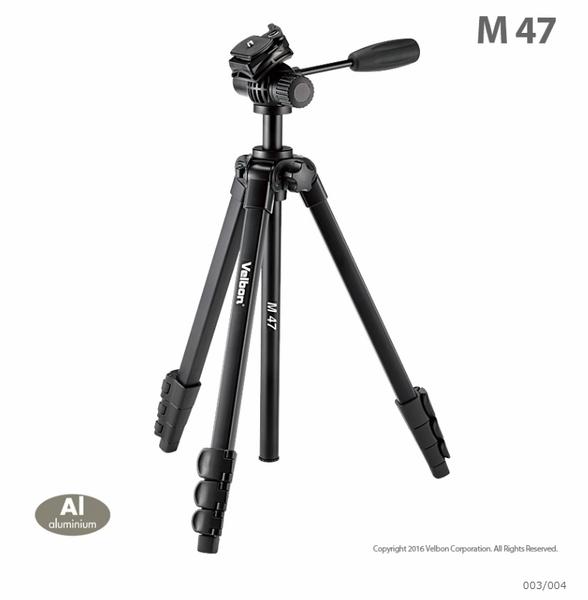 Velbon M47 金鐘 輕便型 油壓腳架 三腳架 油壓雲台+背袋 扳扣式 4節 微單【 公司貨】
