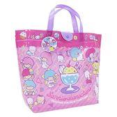 〔小禮堂〕Sanrio大集合 防水海灘袋手提袋《粉紫.聖代杯》側背袋.透明游泳袋 4513576-08166