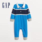 Gap男嬰兒 布萊納小熊刺繡Polo領長袖一件式包屁衣 489533-微風藍