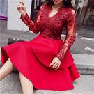 VK精品服飾 韓國風時尚雙層蕾絲拼接長袖洋裝