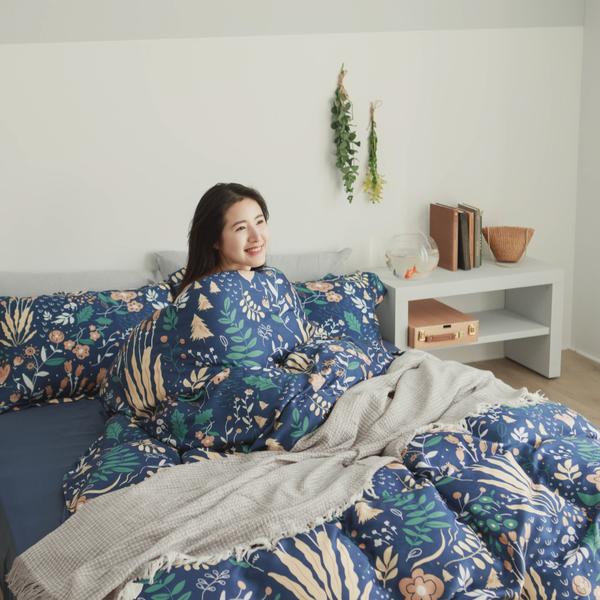 天絲 床包被套組(舖棉兩用被套) 雙人【夏夜】 涼感 親膚 100%tencel 萊賽爾纖維 翔仔居家