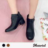 短靴 方頭側裝飾扣短靴 MA女鞋 T9391