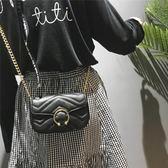 鏈條小包包女新款正韓簡約繡線單肩包百搭少女斜挎包