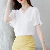 短袖女裝2020年夏季新款雪紡衫氣質蕾絲襯衫V領白色上衣洋氣小衫