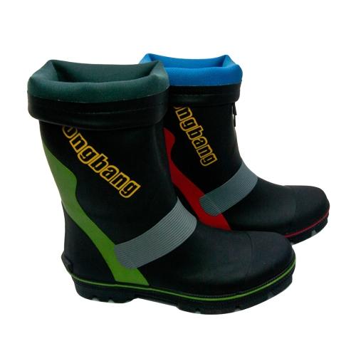 LIKA夢 高筒防水防滑雨靴 水鞋 釣鱼鞋 多功能鋼釘底橡膠雨鞋 磯釣鞋 農用工作鞋 黑綠 男/女