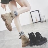 馬丁靴女新款韓版百搭網紅平底短靴單款春秋季單靴英倫風馬丁靴女潮YTL  【快速出貨】